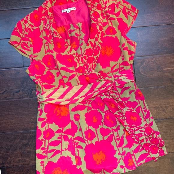 Nanette Lepore Tops - Nanette Lepore olive pink orange wrap shirt